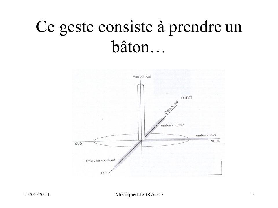 17/05/2014Monique LEGRAND7 Ce geste consiste à prendre un bâton…