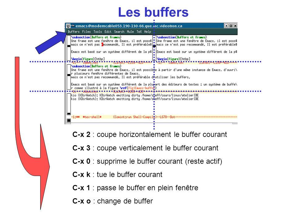 Les buffers C-x 2 : coupe horizontalement le buffer courant C-x 3 : coupe verticalement le buffer courant C-x 0 : supprime le buffer courant (reste actif) C-x k : tue le buffer courant C-x 1 : passe le buffer en plein fenêtre C-x o : change de buffer