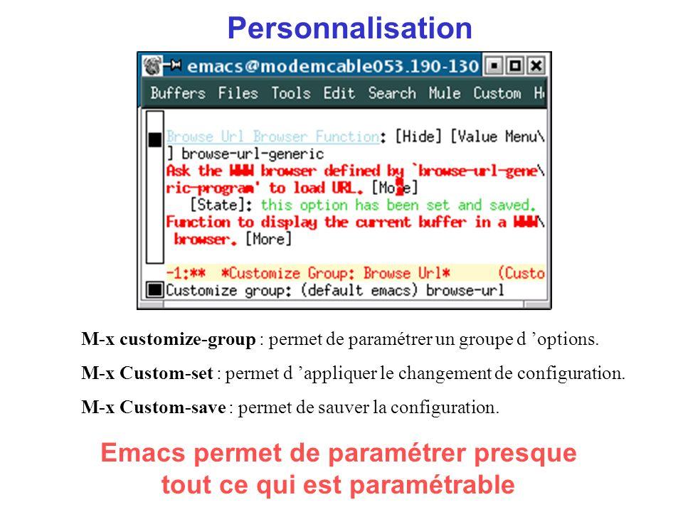 Personnalisation Emacs permet de paramétrer presque tout ce qui est paramétrable M-x customize-group : permet de paramétrer un groupe d options.
