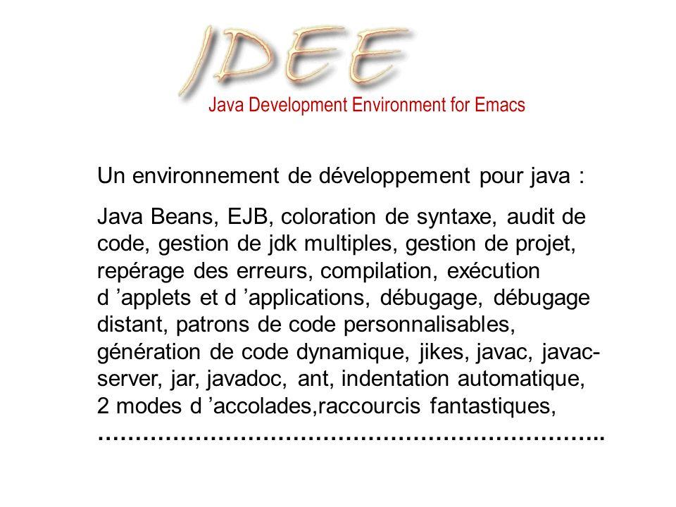 Un environnement de développement pour java : Java Beans, EJB, coloration de syntaxe, audit de code, gestion de jdk multiples, gestion de projet, repérage des erreurs, compilation, exécution d applets et d applications, débugage, débugage distant, patrons de code personnalisables, génération de code dynamique, jikes, javac, javac- server, jar, javadoc, ant, indentation automatique, 2 modes d accolades,raccourcis fantastiques, …………………………………………………………..