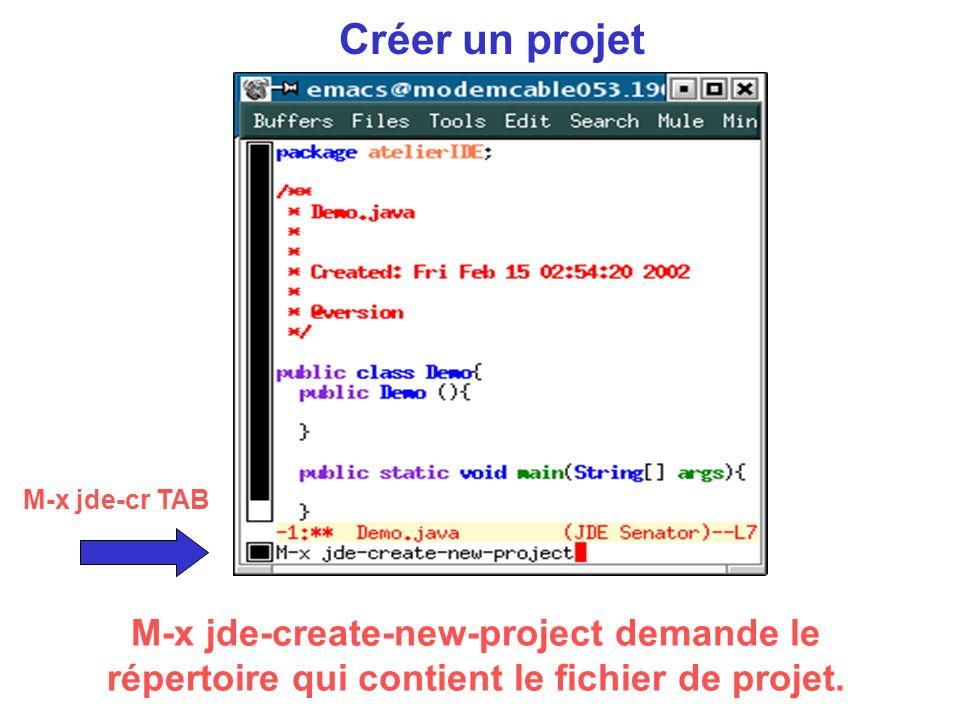 Créer un projet M-x jde-create-new-project demande le répertoire qui contient le fichier de projet.