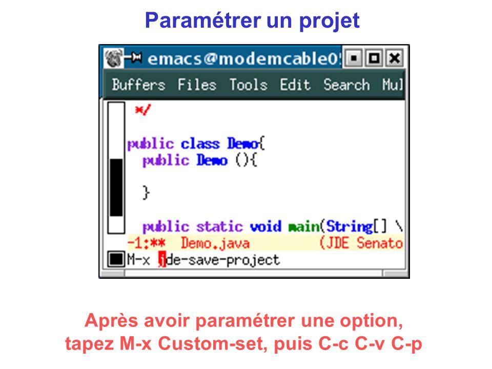 Paramétrer un projet Après avoir paramétrer une option, tapez M-x Custom-set, puis C-c C-v C-p