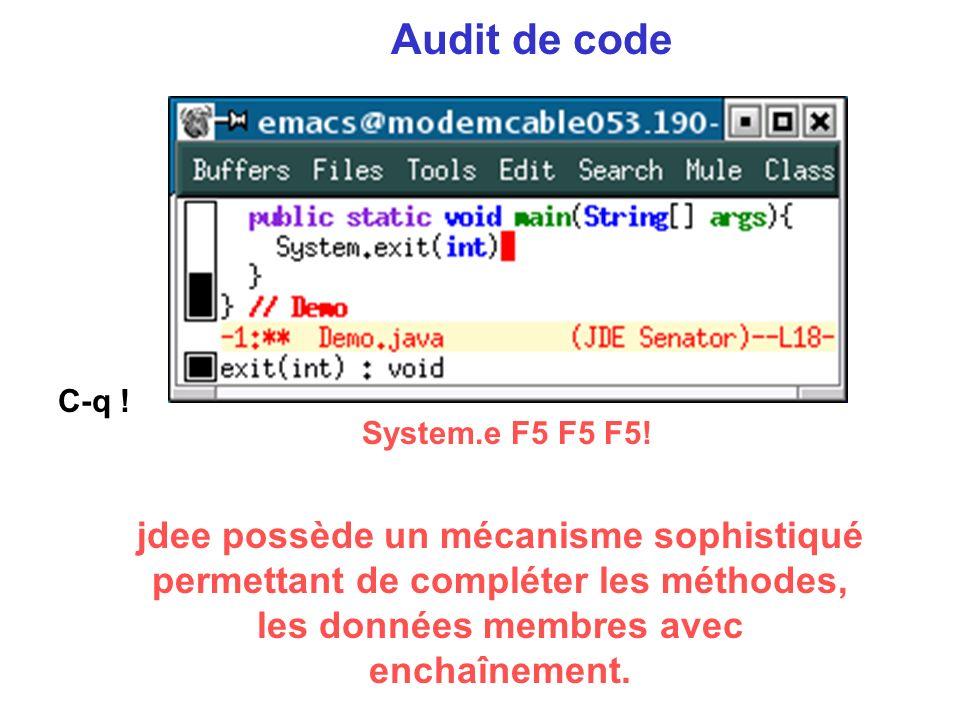 Audit de code System.e F5 F5 F5.