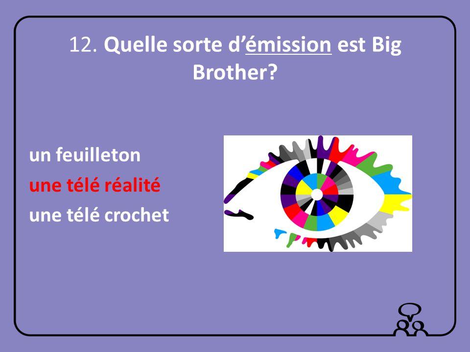 12. Quelle sorte démission est Big Brother? un feuilleton une télé réalité une télé crochet