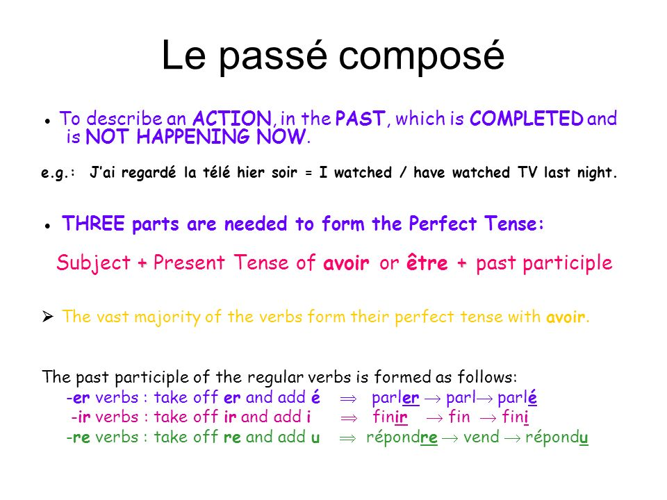 The irregular past participles should be learnt by heart: to have to be to take to understand to put to drink to read to be able to / can to see to say to write to do avoir être prendre comprendre mettre boire lire pouvoir voir dire écrire faireeuétépriscomprismisbulupuvuditécritfait