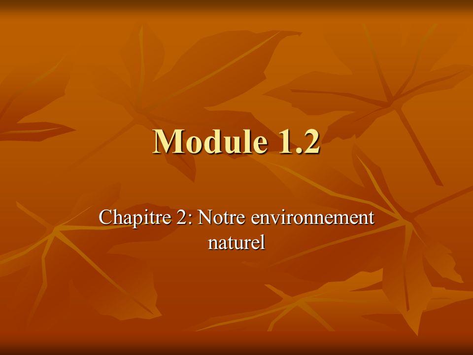 Module 1.2 Chapitre 2: Notre environnement naturel