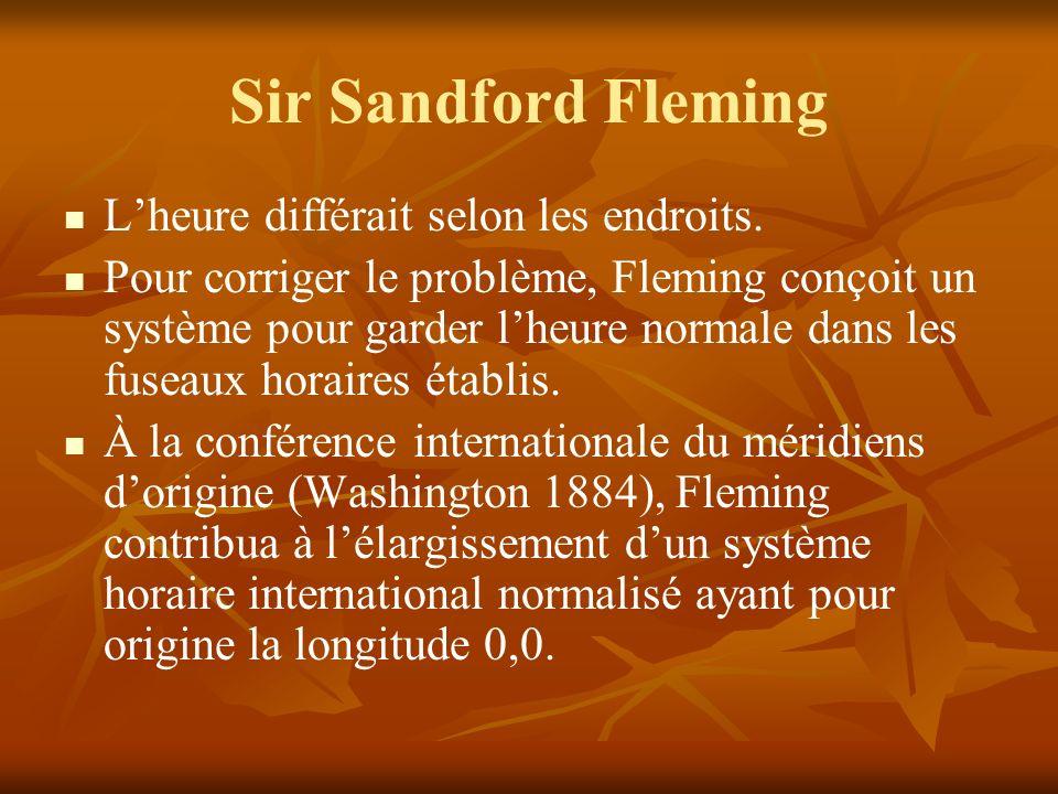 Sir Sandford Fleming Lheure différait selon les endroits.