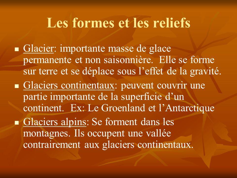 Les formes et les reliefs Glacier: importante masse de glace permanente et non saisonnière.