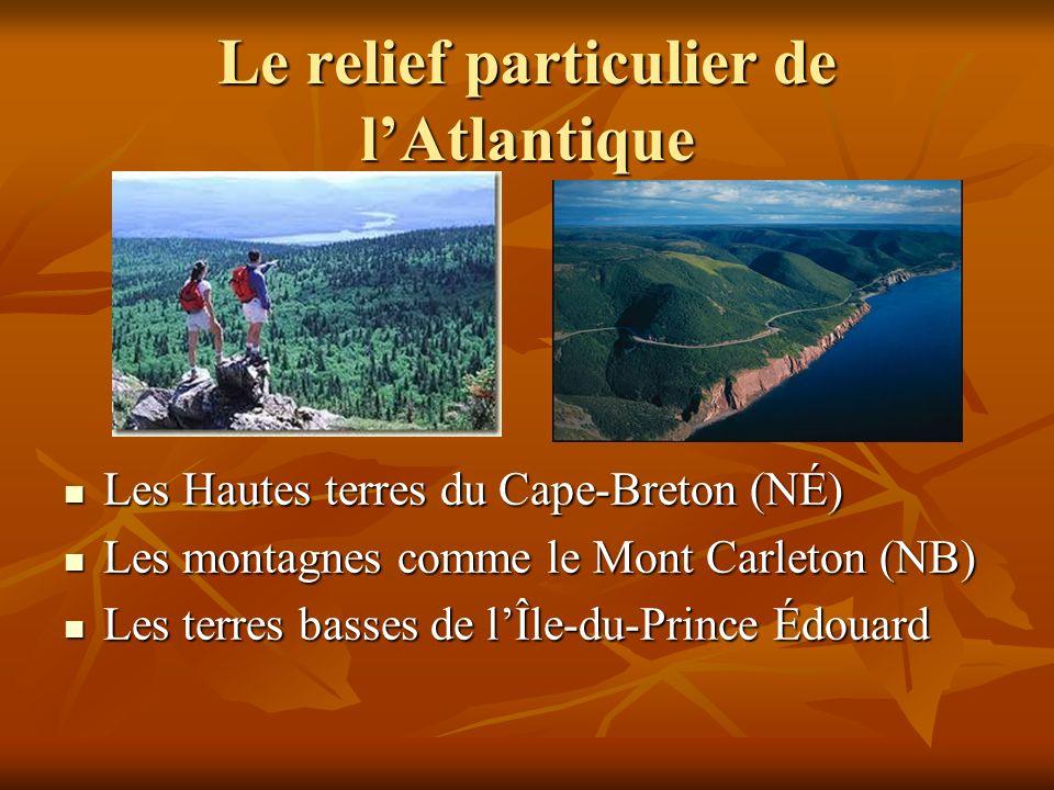 Le relief particulier de lAtlantique Les Hautes terres du Cape-Breton (NÉ) Les Hautes terres du Cape-Breton (NÉ) Les montagnes comme le Mont Carleton (NB) Les montagnes comme le Mont Carleton (NB) Les terres basses de lÎle-du-Prince Édouard Les terres basses de lÎle-du-Prince Édouard