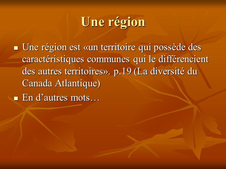 Une région Une région est «un territoire qui possède des caractéristiques communes qui le différencient des autres territoires».