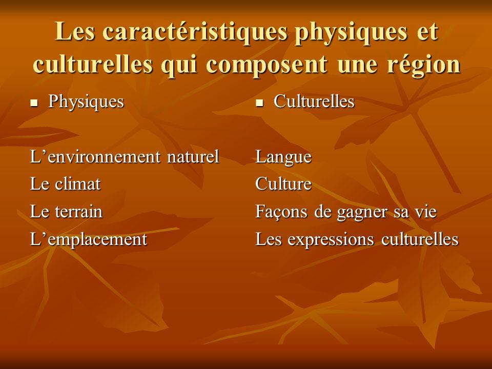 Les caractéristiques physiques et culturelles qui composent une région Physiques Physiques Lenvironnement naturel Le climat Le terrain Lemplacement Culturelles CulturellesLangueCulture Façons de gagner sa vie Les expressions culturelles