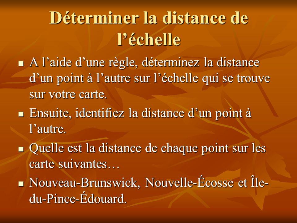 Déterminer la distance de léchelle A laide dune règle, déterminez la distance dun point à lautre sur léchelle qui se trouve sur votre carte.