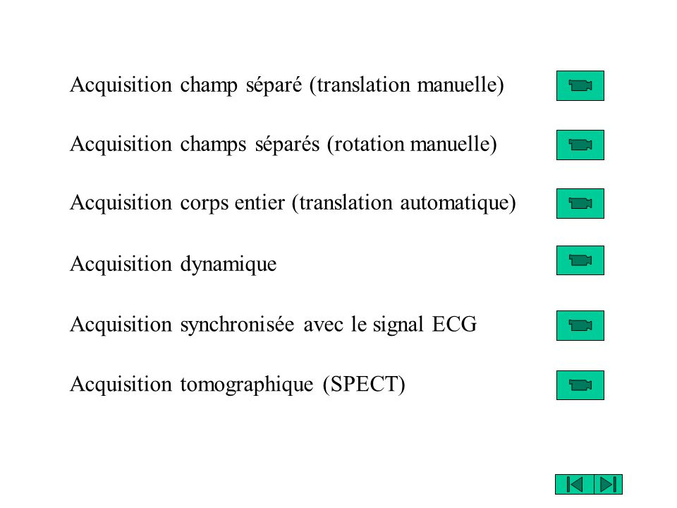 Acquisition champ séparé (translation manuelle) Acquisition champs séparés (rotation manuelle) Acquisition corps entier (translation automatique) Acquisition dynamique Acquisition synchronisée avec le signal ECG Acquisition tomographique (SPECT)