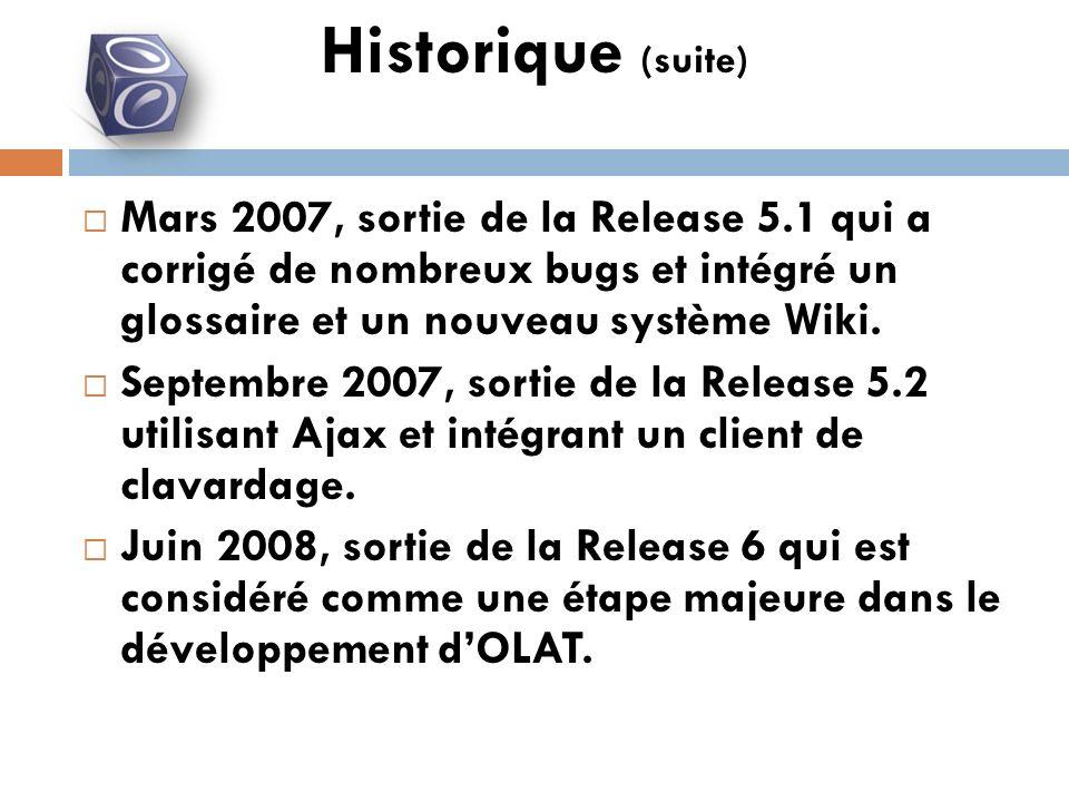 Mars 2007, sortie de la Release 5.1 qui a corrigé de nombreux bugs et intégré un glossaire et un nouveau système Wiki.