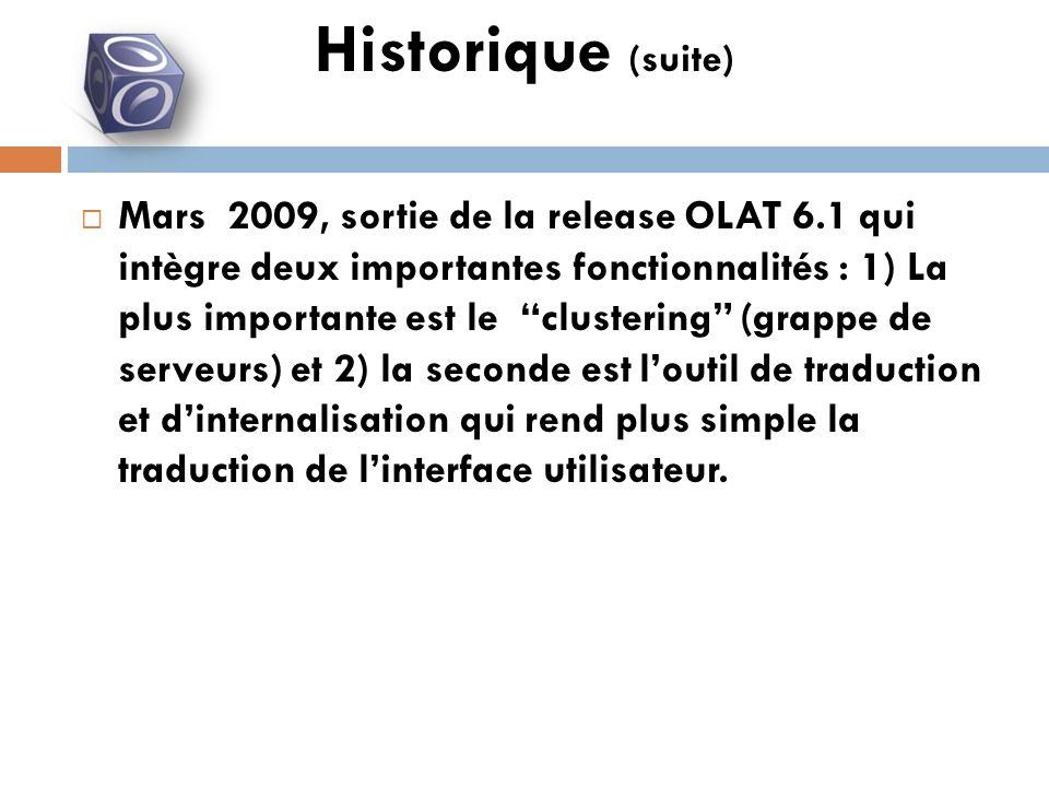 Mars 2009, sortie de la release OLAT 6.1 qui intègre deux importantes fonctionnalités : 1) La plus importante est le clustering (grappe de serveurs) et 2) la seconde est loutil de traduction et dinternalisation qui rend plus simple la traduction de linterface utilisateur.