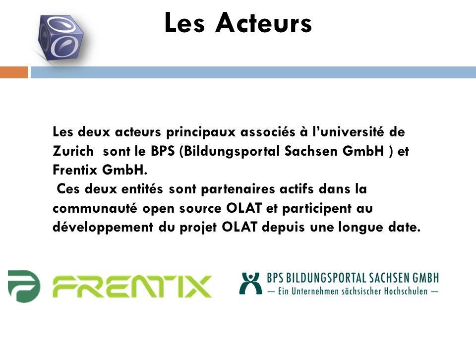 Les deux acteurs principaux associés à luniversité de Zurich sont le BPS (Bildungsportal Sachsen GmbH ) et Frentix GmbH.