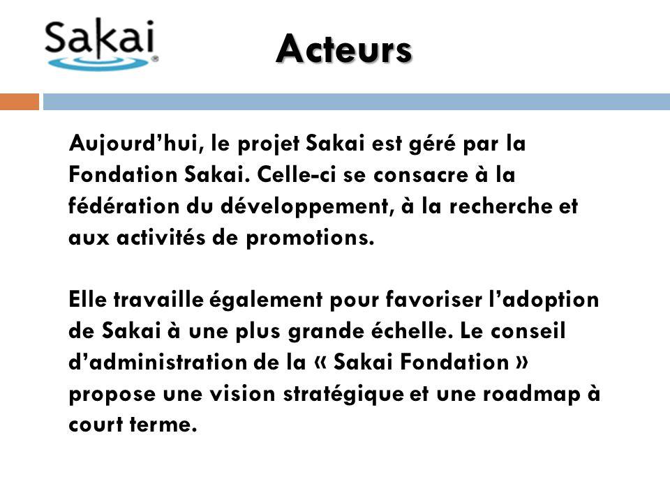 Acteurs Aujourdhui, le projet Sakai est géré par la Fondation Sakai.