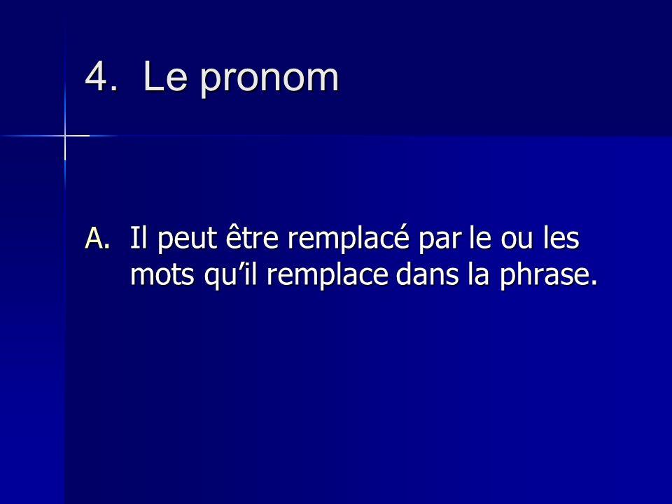 Les classes de mots 4.Le pronom Cest un mot qui remplace généralement un nom.