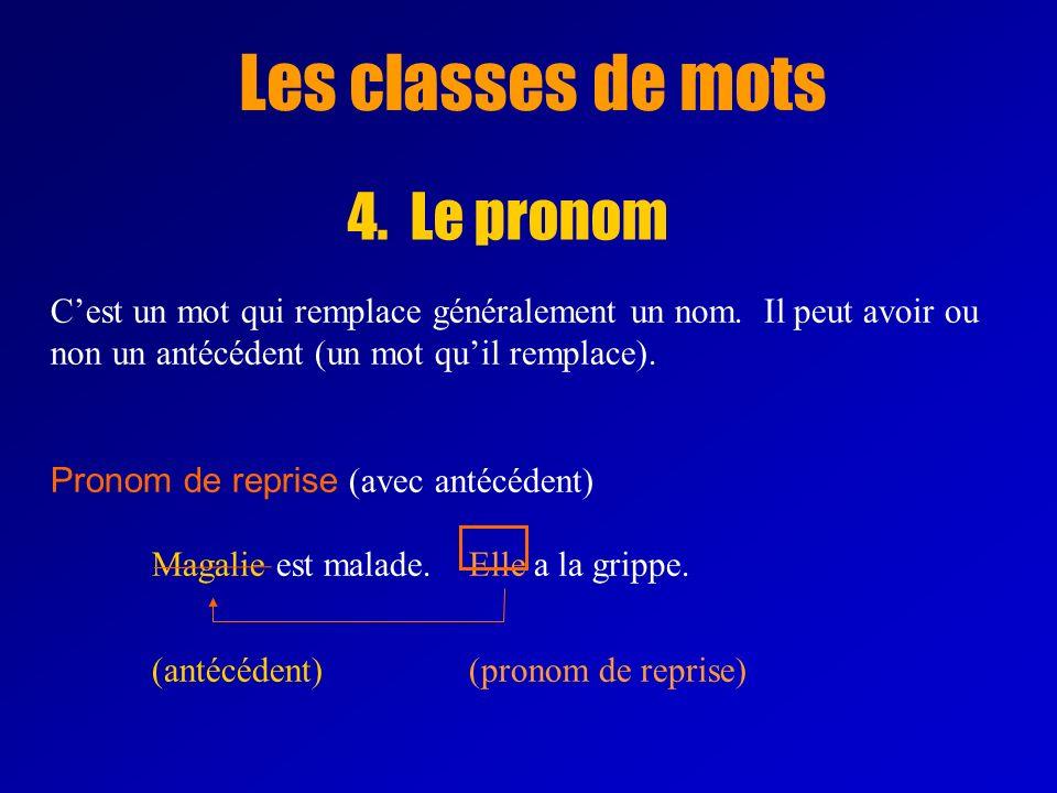 Les classes de mots 4.