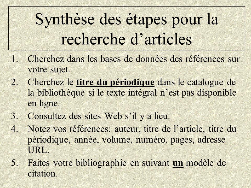 Synthèse des étapes pour la recherche darticles 1.Cherchez dans les bases de données des références sur votre sujet. 2.Cherchez le titre du périodique