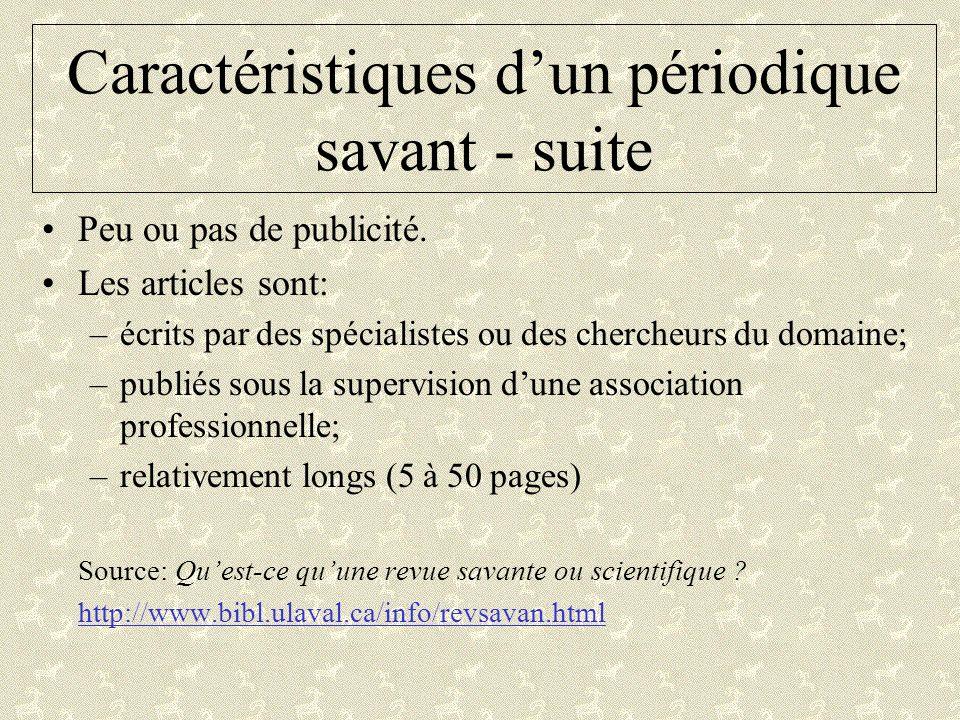 Exemples de périodiques savants Recherches sociographiquesAnthropologie et Sociétés Université Laval.
