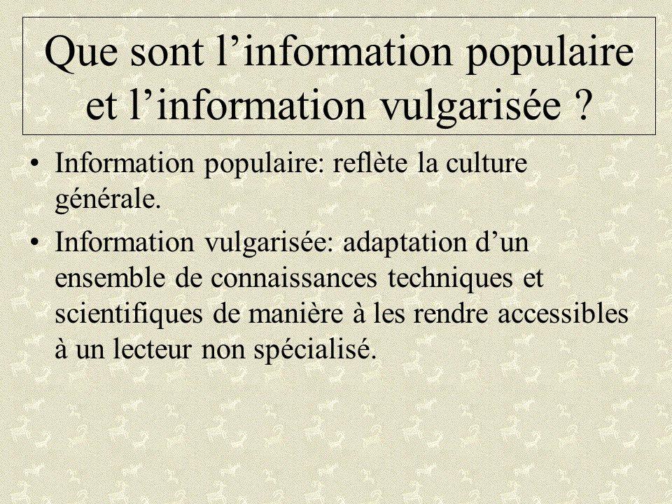 Que sont linformation populaire et linformation vulgarisée ? Information populaire: reflète la culture générale. Information vulgarisée: adaptation du