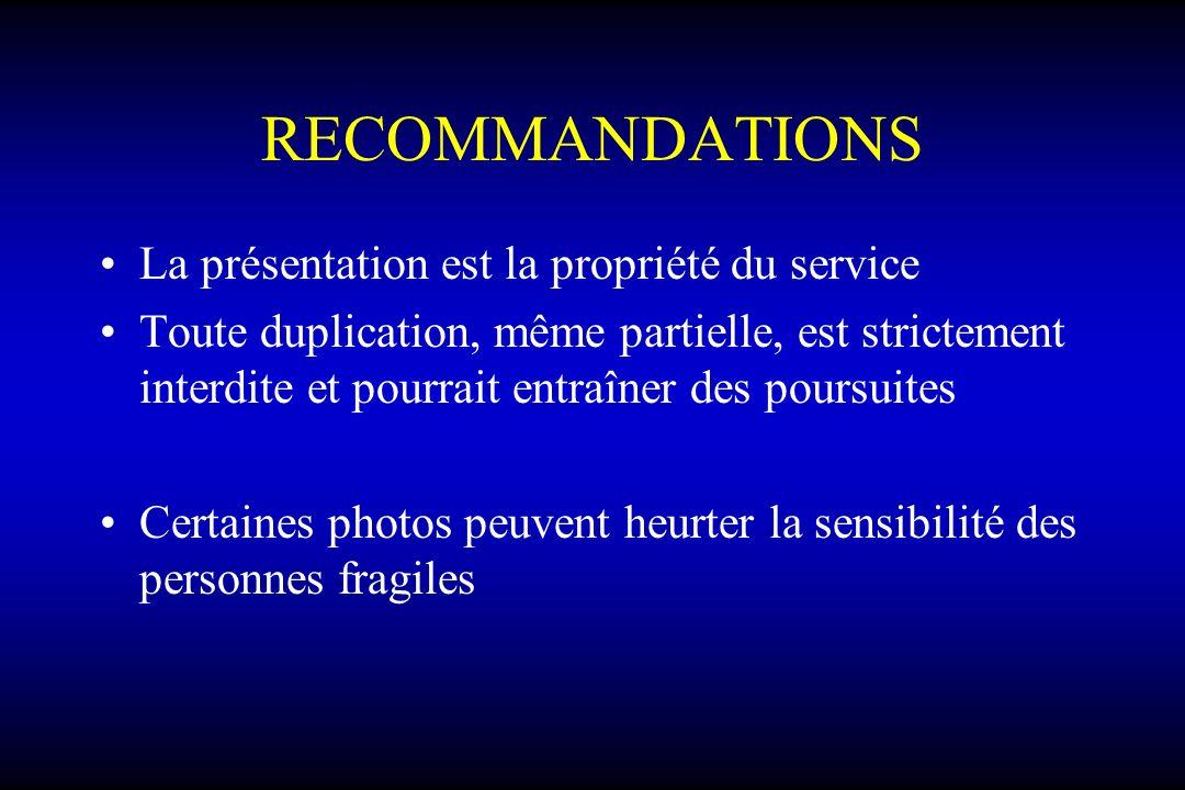 RECOMMANDATIONS La présentation est la propriété du service Toute duplication, même partielle, est strictement interdite et pourrait entraîner des poursuites Certaines photos peuvent heurter la sensibilité des personnes fragiles