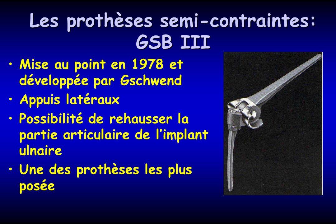 Les prothèses semi-contraintes: GSB III Mise au point en 1978 et développée par Gschwend Appuis latéraux Possibilité de rehausser la partie articulaire de limplant ulnaire Une des prothèses les plus posée