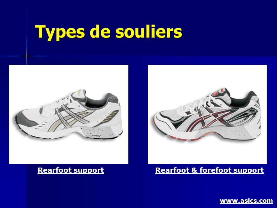 Types de souliers www.asics.com Rearfoot supportRearfoot & forefoot support