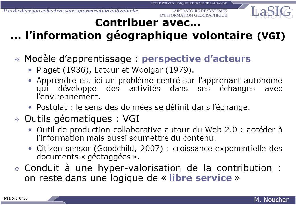 Pas de décision collective sans appropriation individuelle MN/5.6.8/10 M. Noucher Contribuer avec... … linformation géographique volontaire (VGI) Mod