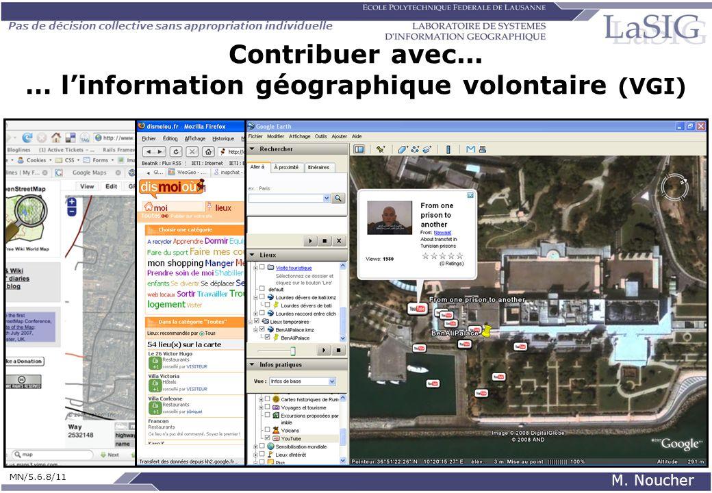 Pas de décision collective sans appropriation individuelle MN/5.6.8/11 M. Noucher Contribuer avec... … linformation géographique volontaire (VGI)