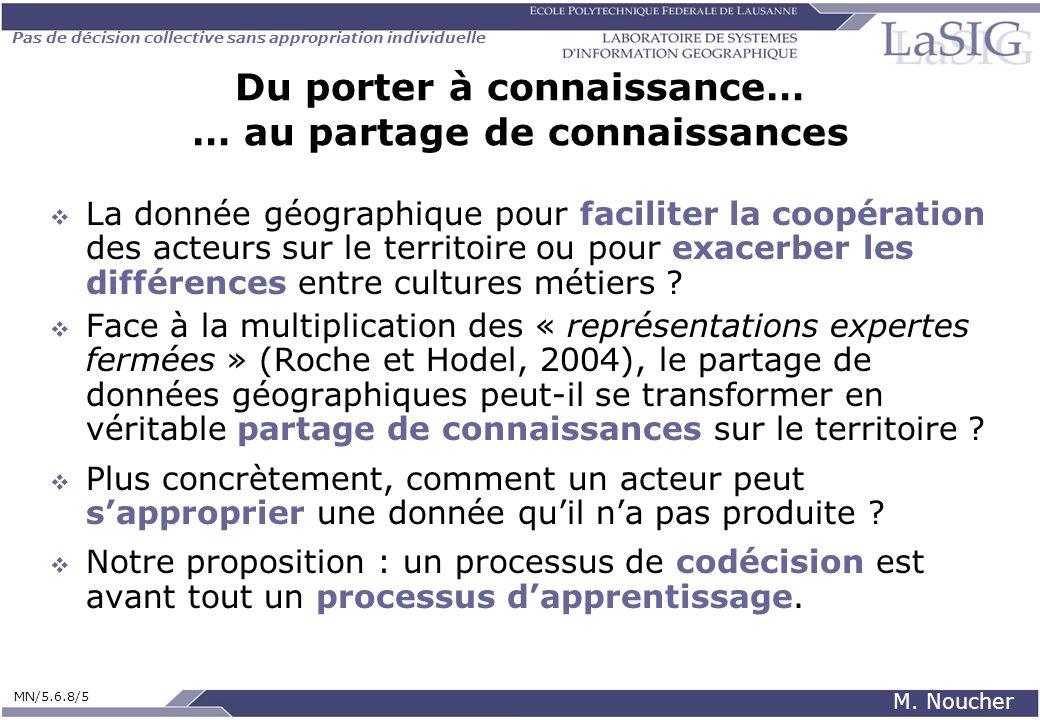 Pas de décision collective sans appropriation individuelle MN/5.6.8/5 M. Noucher Du porter à connaissance… … au partage de connaissances La donnée géo