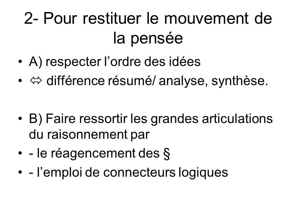 2- Pour restituer le mouvement de la pensée A) respecter lordre des idées différence résumé/ analyse, synthèse.