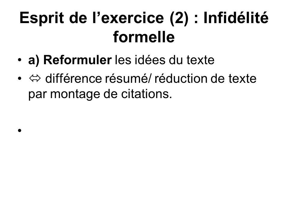 Esprit de lexercice (2) : Infidélité formelle a) Reformuler les idées du texte différence résumé/ réduction de texte par montage de citations.