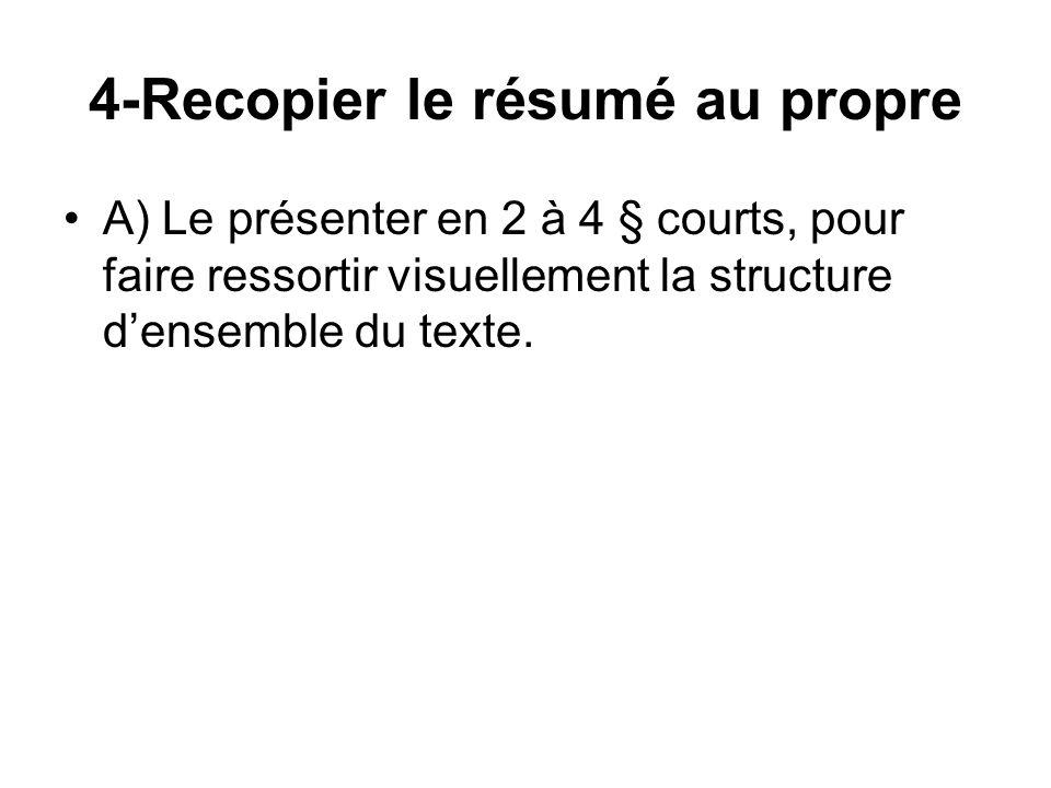 4-Recopier le résumé au propre A) Le présenter en 2 à 4 § courts, pour faire ressortir visuellement la structure densemble du texte.