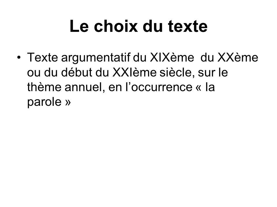 Le choix du texte Texte argumentatif du XIXème du XXème ou du début du XXIème siècle, sur le thème annuel, en loccurrence « la parole »