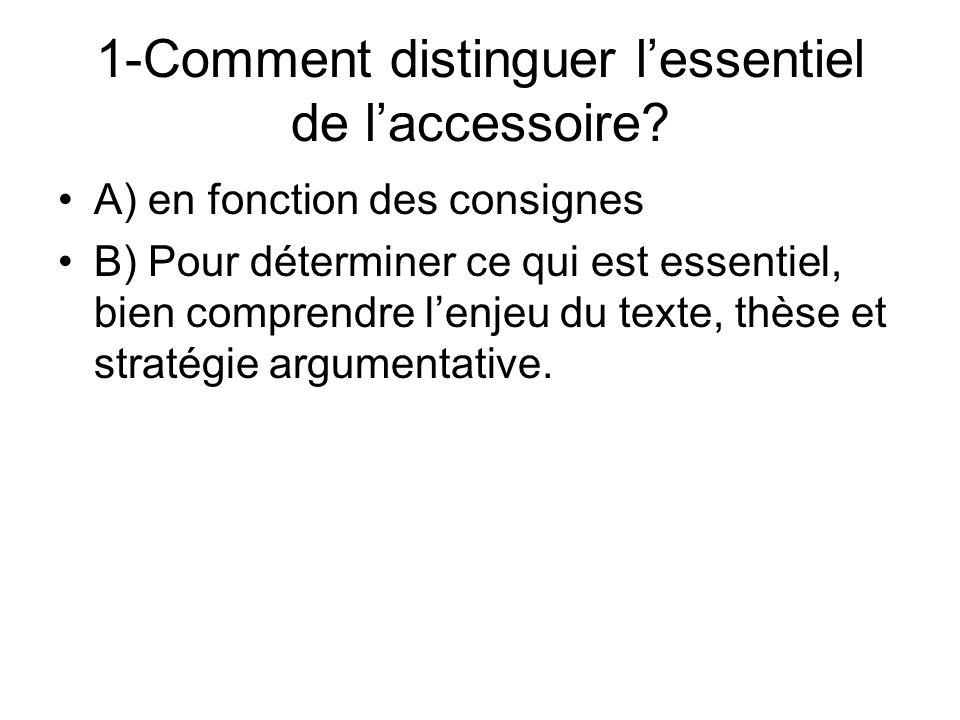 1-Comment distinguer lessentiel de laccessoire.