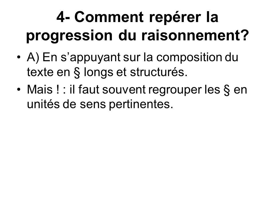 4- Comment repérer la progression du raisonnement.