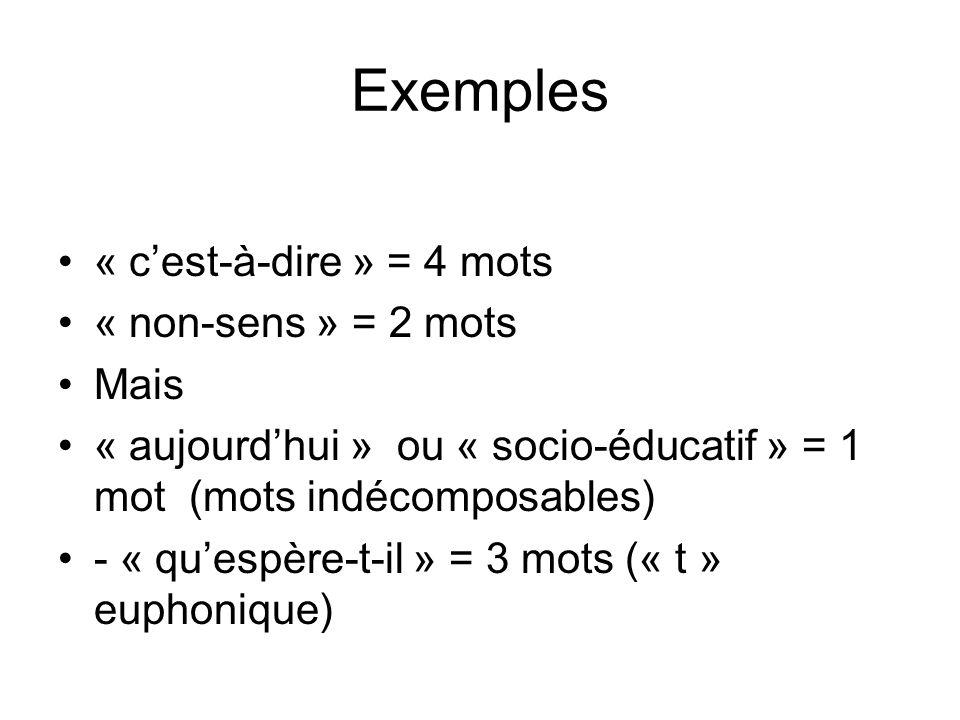 Exemples « cest-à-dire » = 4 mots « non-sens » = 2 mots Mais « aujourdhui » ou « socio-éducatif » = 1 mot (mots indécomposables) - « quespère-t-il » = 3 mots (« t » euphonique)