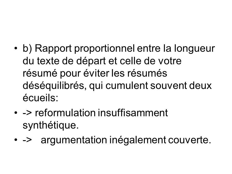 b) Rapport proportionnel entre la longueur du texte de départ et celle de votre résumé pour éviter les résumés déséquilibrés, qui cumulent souvent deux écueils: -> reformulation insuffisamment synthétique.