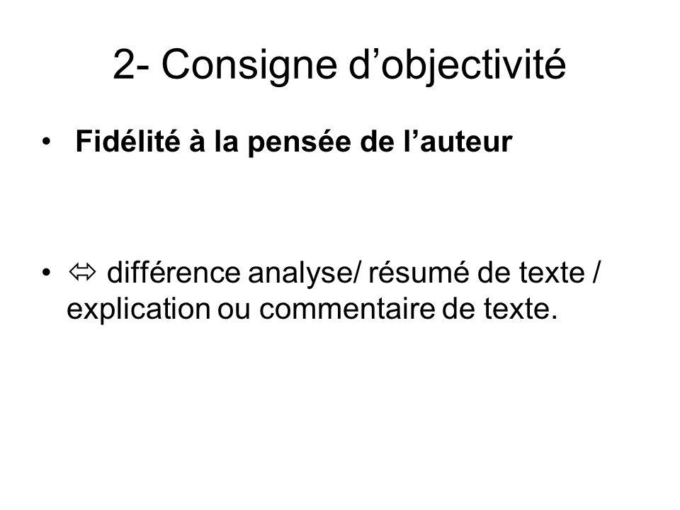 2- Consigne dobjectivité Fidélité à la pensée de lauteur différence analyse/ résumé de texte / explication ou commentaire de texte.