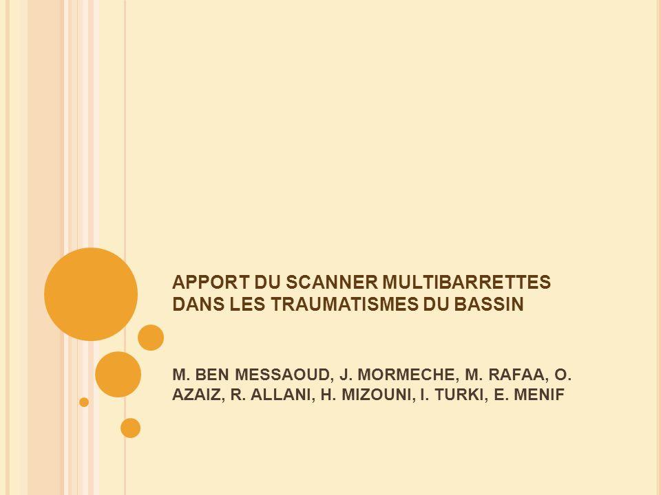 I NTRODUCTION Les traumatismes du bassin sont une pathologie fréquente avec une mortalité élevée, aggravée par la fréquence des lésions associées pouvant compliquer la stratégie thérapeutique.