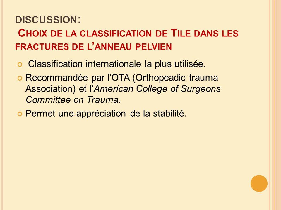 DISCUSSION : C HOIX DE LA CLASSIFICATION DE T ILE DANS LES FRACTURES DE L ANNEAU PELVIEN Classification internationale la plus utilisée. Recommandée p