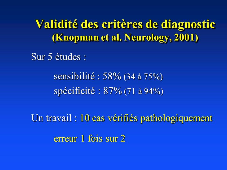 Validité des critères de diagnostic (Knopman et al. Neurology, 2001) Sur 5 études : sensibilité : 58% (34 à 75%) spécificité : 87% (71 à 94%) Un trava
