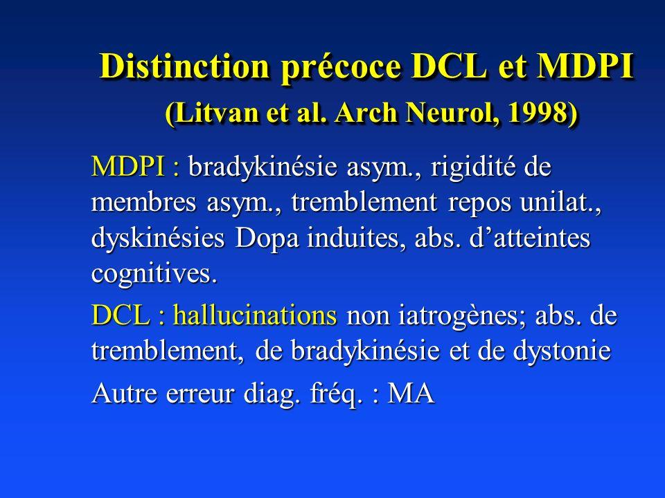 Distinction précoce DCL et MDPI (Litvan et al. Arch Neurol, 1998) MDPI : bradykinésie asym., rigidité de membres asym., tremblement repos unilat., dys