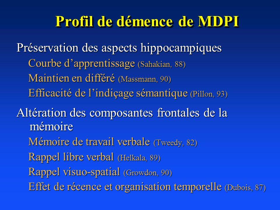 Profil de démence de MDPI Préservation des aspects hippocampiques Préservation des aspects hippocampiques Courbe dapprentissage (Sahakian, 88) Maintie