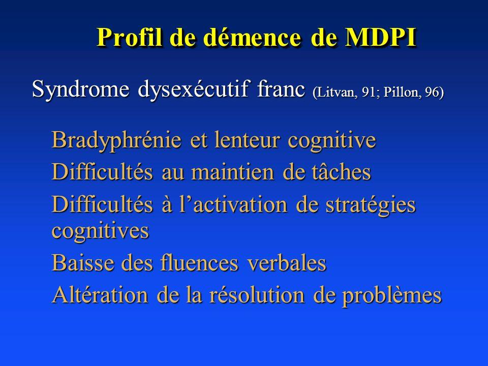 Profil de démence de MDPI Syndrome dysexécutif franc (Litvan, 91; Pillon, 96) Syndrome dysexécutif franc (Litvan, 91; Pillon, 96) Bradyphrénie et lent