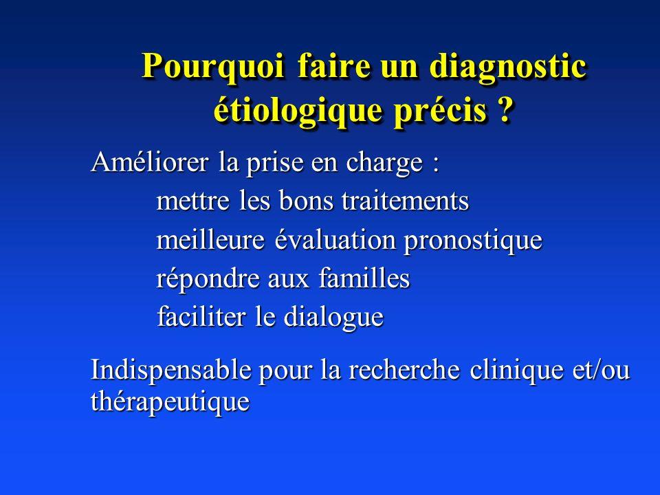 Pourquoi faire un diagnostic étiologique précis ? Améliorer la prise en charge : mettre les bons traitements meilleure évaluation pronostique répondre
