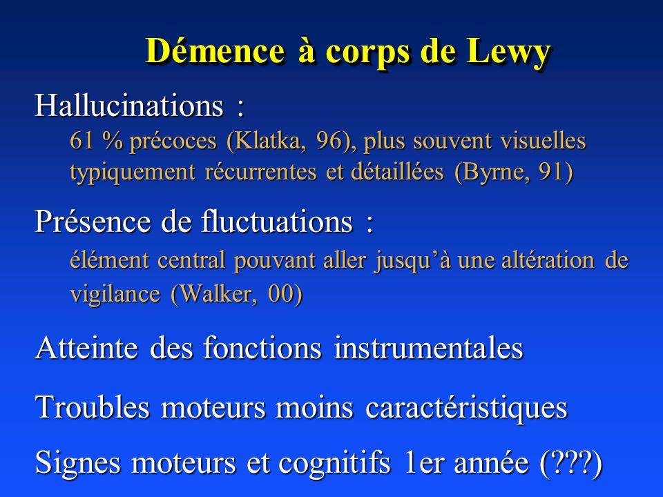 Démence à corps de Lewy Hallucinations : 61 % précoces (Klatka, 96), plus souvent visuelles typiquement récurrentes et détaillées (Byrne, 91) Présence