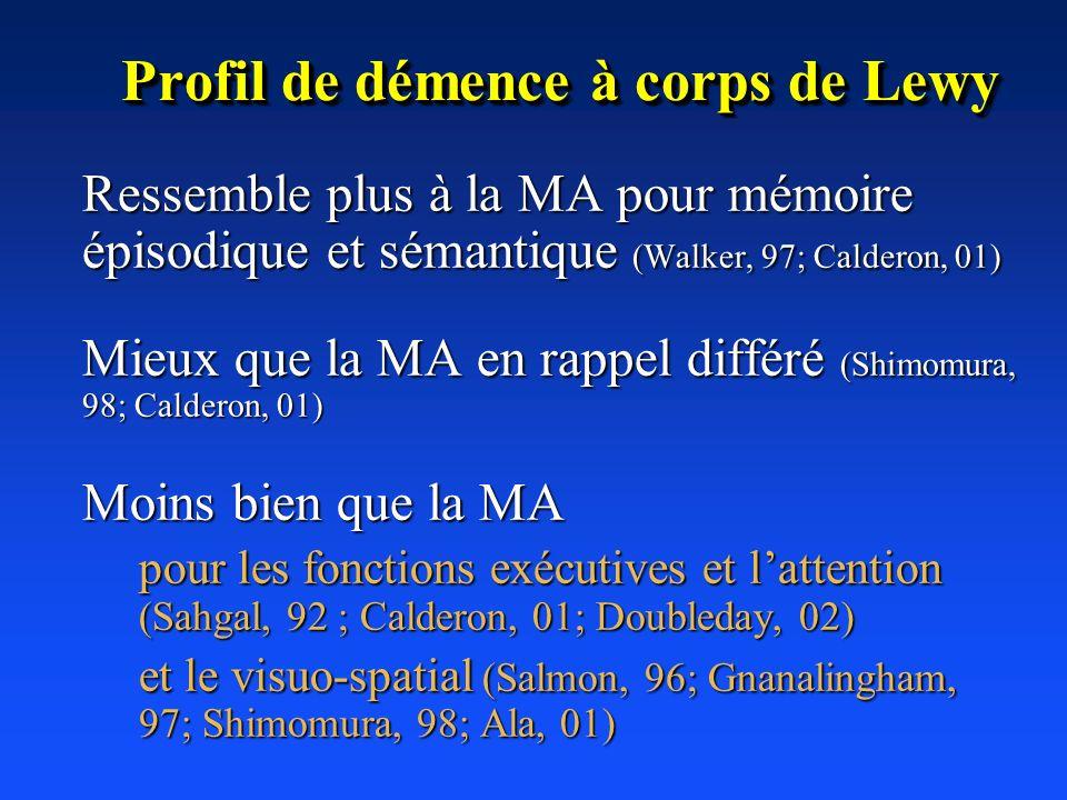 Profil de démence à corps de Lewy Ressemble plus à la MA pour mémoire épisodique et sémantique (Walker, 97; Calderon, 01) Mieux que la MA en rappel di